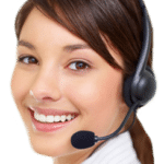 a costumer representative with headphone and mic