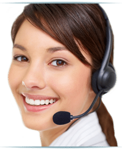 a costumer representative with headphones and mic